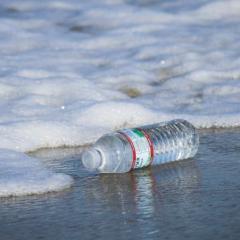 plastic bottle discarded on beach